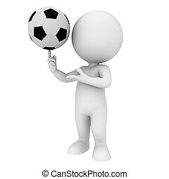 blanc, football, 3d, gens