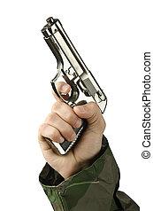 blanc, fusil, main