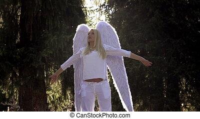 blanc, girl, ailes ange