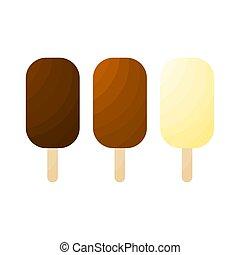 blanc, glace, vecteur, ensemble, fond, crème, isolé