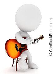 blanc, guitariste, 3d, gens