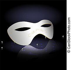blanc, half-mask, carnaval