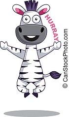 blanc, heureux, illustration, zebra, vecteur, arrière-plan.