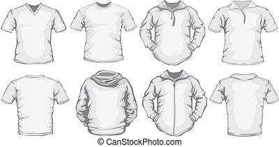 blanc, hommes, chemises, gabarit