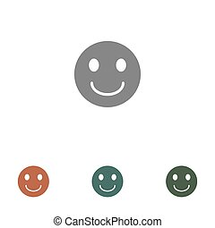 blanc, icône, isolé, figure, smiley, fond