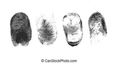 blanc, icône, silhouette, fond, empreinte doigt