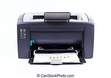 blanc, imprimante, fond, isolé, contre