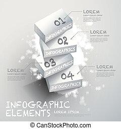 blanc, infographic, bloc, éléments, 3d
