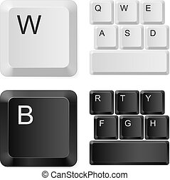 blanc, informatique, noir, keys.
