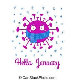 blanc, isolé, dessin animé, écharpe, coronavirus, snowflakes., bonjour, stockage, vecteur, illustration., january., arrière-plan., bleu, bactérie