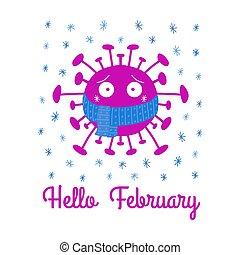 blanc, isolé, dessin animé, écharpe, coronavirus, snowflakes., february., bonjour, stockage, vecteur, illustration., arrière-plan., bleu, bactérie