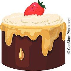 blanc, isolé, fond, petit gâteau