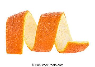blanc, isolé, orange, peel., arrière-plan., bouclé, zeste, citron.