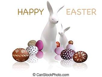 blanc, lapins, paques, carte voeux