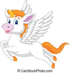 blanc, licorne, cheval, dessin animé