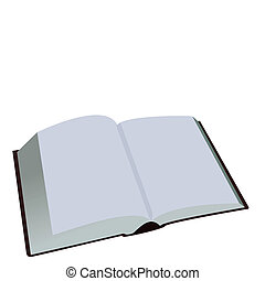 blanc, livre, ouvert, fond, isolé