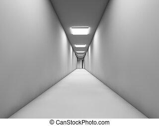 blanc, long, couloir