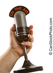 blanc, main, microphone, sur