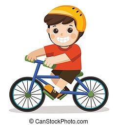 blanc, mignon, équitation bicyclette, arrière-plan., garçon