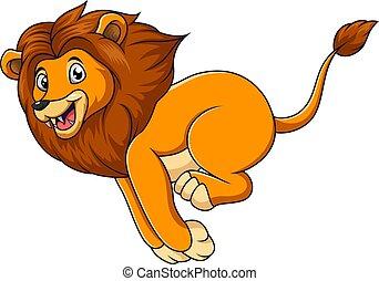 blanc, mignon, lion, fond, courant, dessin animé
