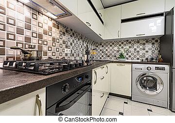 blanc, moderne, intérieur, cuisine, brun