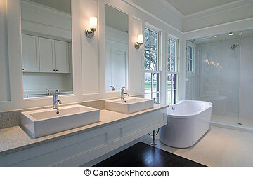 blanc, moderne, salle bains