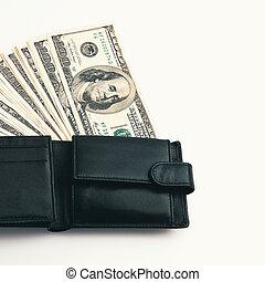 blanc, noir, dollars, portefeuille, arrière-plan., il