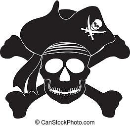 blanc, noir, pirate, illustration, crâne