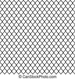 blanc, noir, silhouette, anneau chaîne, modèle, seamless, barrière
