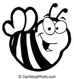 blanc, noir, sourire, abeille