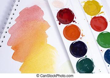 blanc, palette, sommet, aquarelle, coups, papier, brosse, pinceaux, coloré, peintures, vue