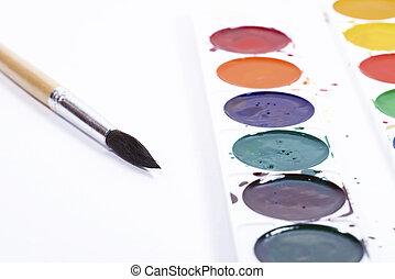 blanc, palette, sommet, papier, pinceaux, fond, vue