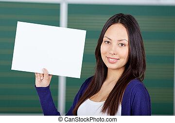 blanc, papier, afficher, étudiant féminin