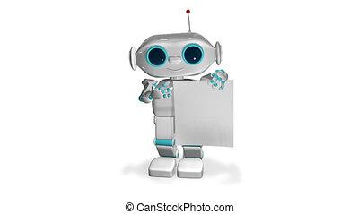 blanc, papier, animation, robot, 3d