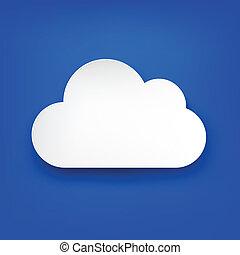 blanc, papier, nuage, blue.