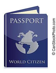 blanc, passeport, fond
