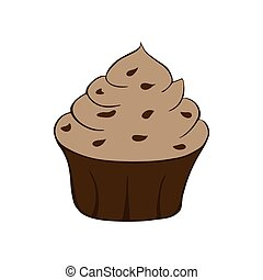 blanc, petit gâteau, illustration, isolé, vecteur, arrière-plan., chocolat