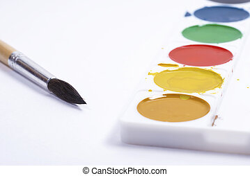 blanc, pinceaux, palette, papier, fond, vue, sommet