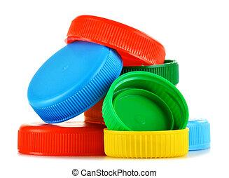 blanc, plastique, isolé, capsules