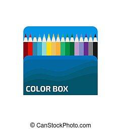 blanc, plat, bois, vecteur, crayons, boîte, illustration., couleur, arrière-plan.