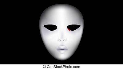 blanc, pleurer, obscurité, masque