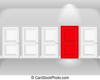 blanc, porte, rouges, portes, rang