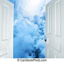 blanc, portes, rêves, ouverture