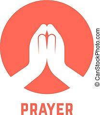 blanc, prier, cercle, mains