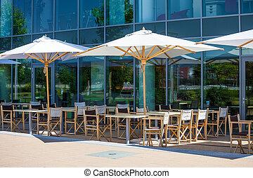 blanc, restaurant, terrasse, parapluies, secteur