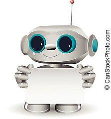 blanc, robot, fond