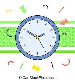 blanc, rond, mur bleu, simple, coloré, vecteur, éléments, fond, classique, horloge, géométrique
