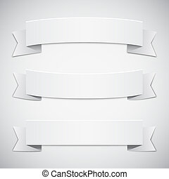 blanc, rubans, bannières