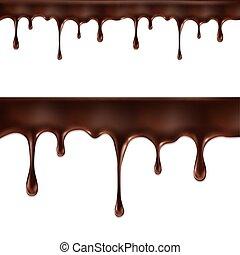 blanc, ruisseaux, isolé, chocolat