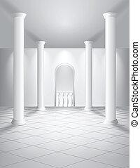 blanc, salle, colonnes